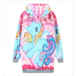 Pink Rainbow Unicorn Harajuku Funky Long Sleeve Fleece Sweatshirts Hoodie Hooded Tops